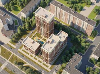 Вид сверху на жилой комплекс Main House